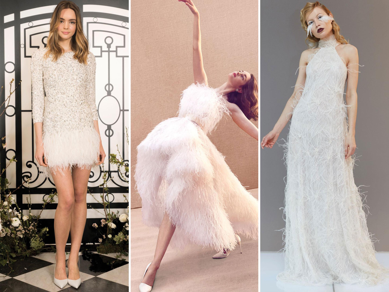 Тенденции свадебной моды 2020 Перья