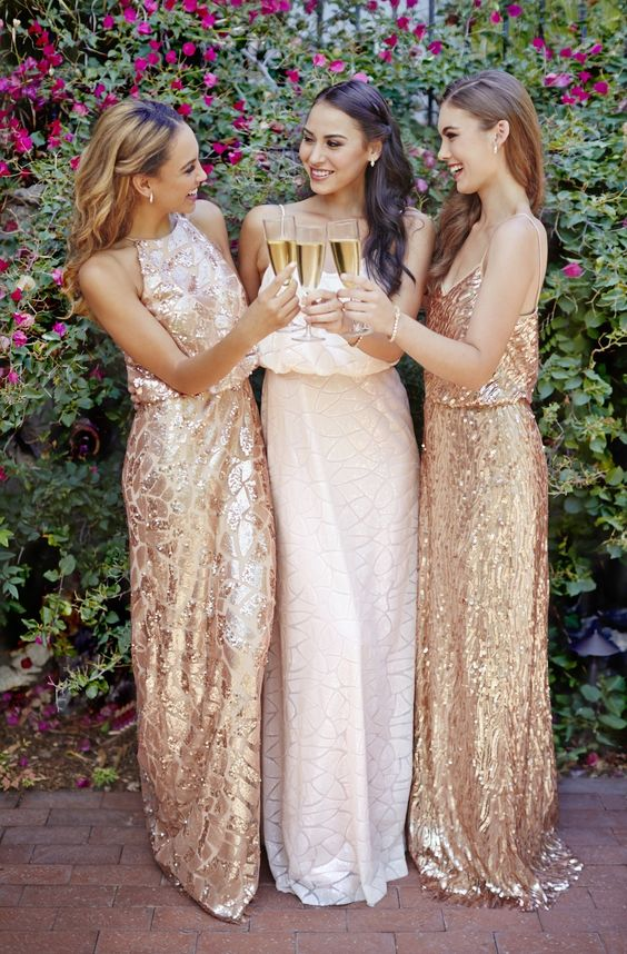 Blush-and-rose-gold-sequin-dresses-by-Donna-Morgan