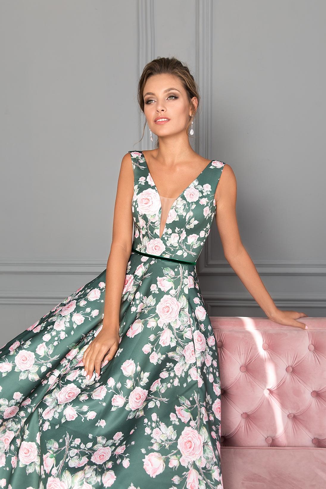 Вечерние платья с цветочным принтом 4