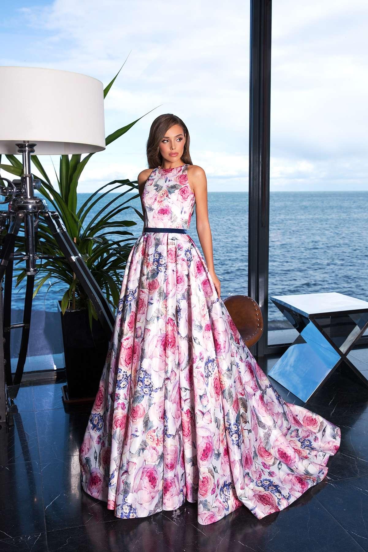 Вечерние платья с цветочным принтом 6