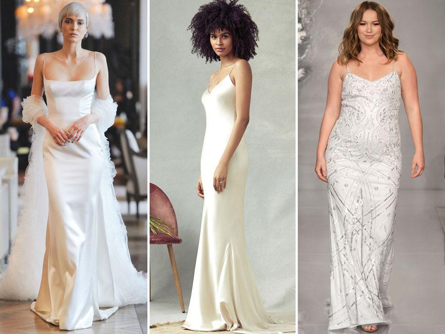 Тенденции свадебной моды 2020 Струящиеся платья из мокрого шелка